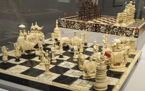 Ebony and ivory chess set